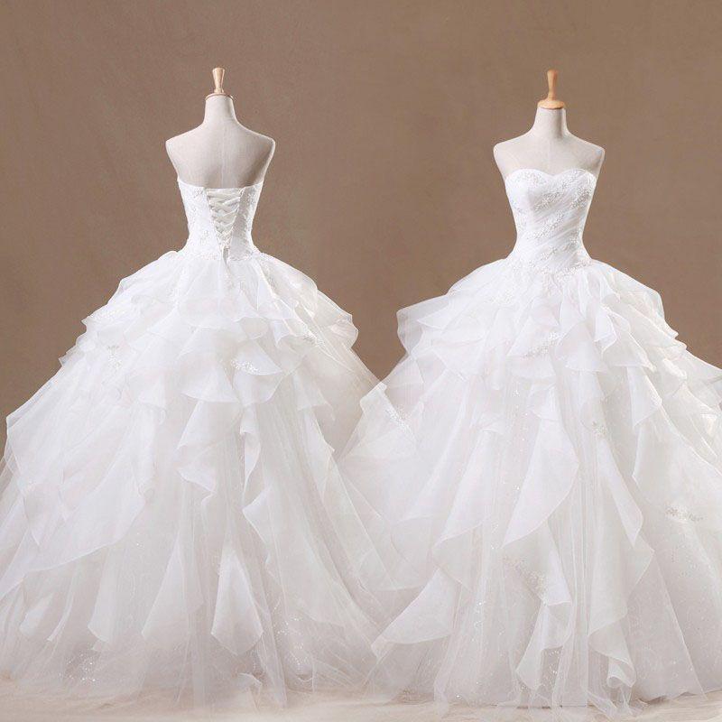 Real photos 2017 simple white wedding dresses ball gown for Simple off white wedding dresses