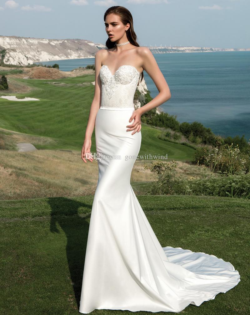 White simple summer beach corset mermaid wedding dresses for Simple corset wedding dresses