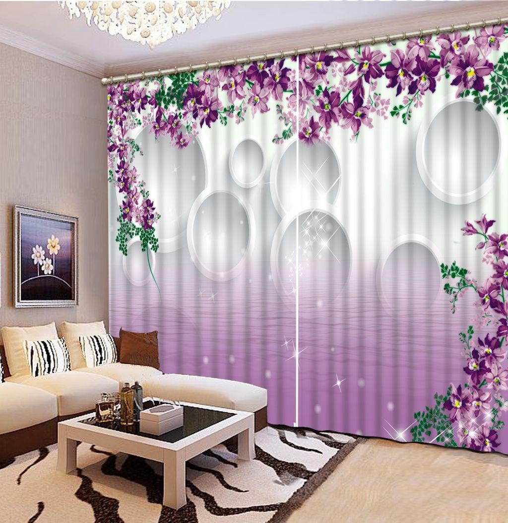 2017 Classic Home Decor Custom Any Size Purple 3d Curtains