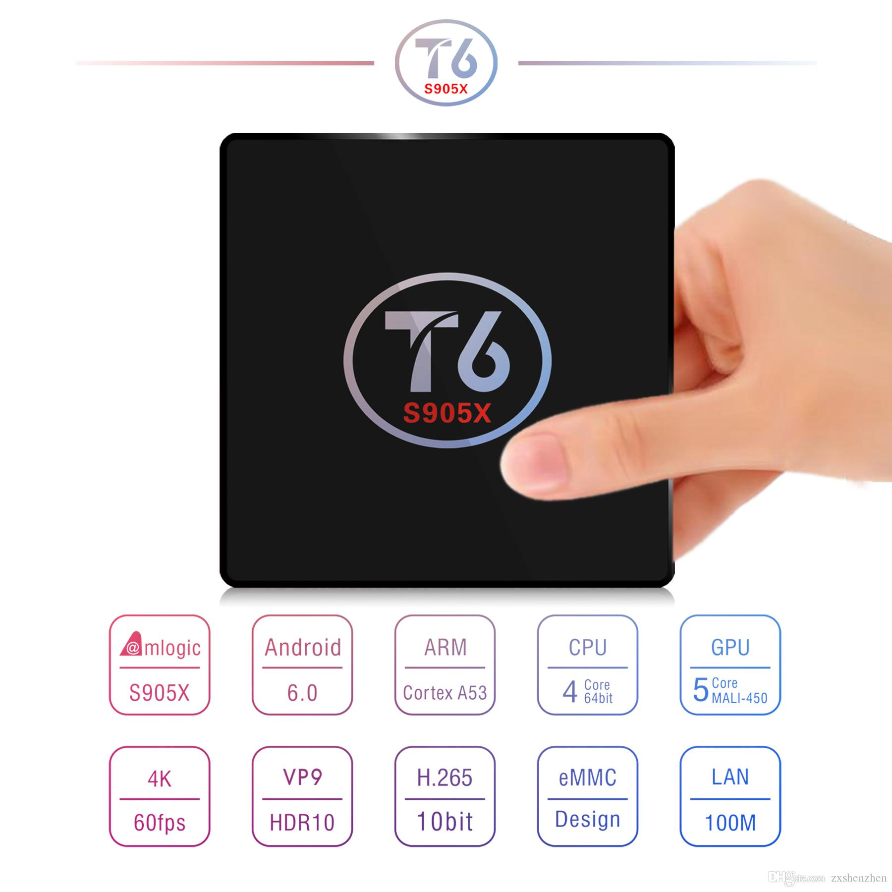 Original T6 TV Box Android 7.1 Smart TV Box 2 Go RAM 16 Go ROM Amlogic S905X Quad Core Cortex A53 4K 2.4GHz WiFi Smart Set Top Box 2G / 18G