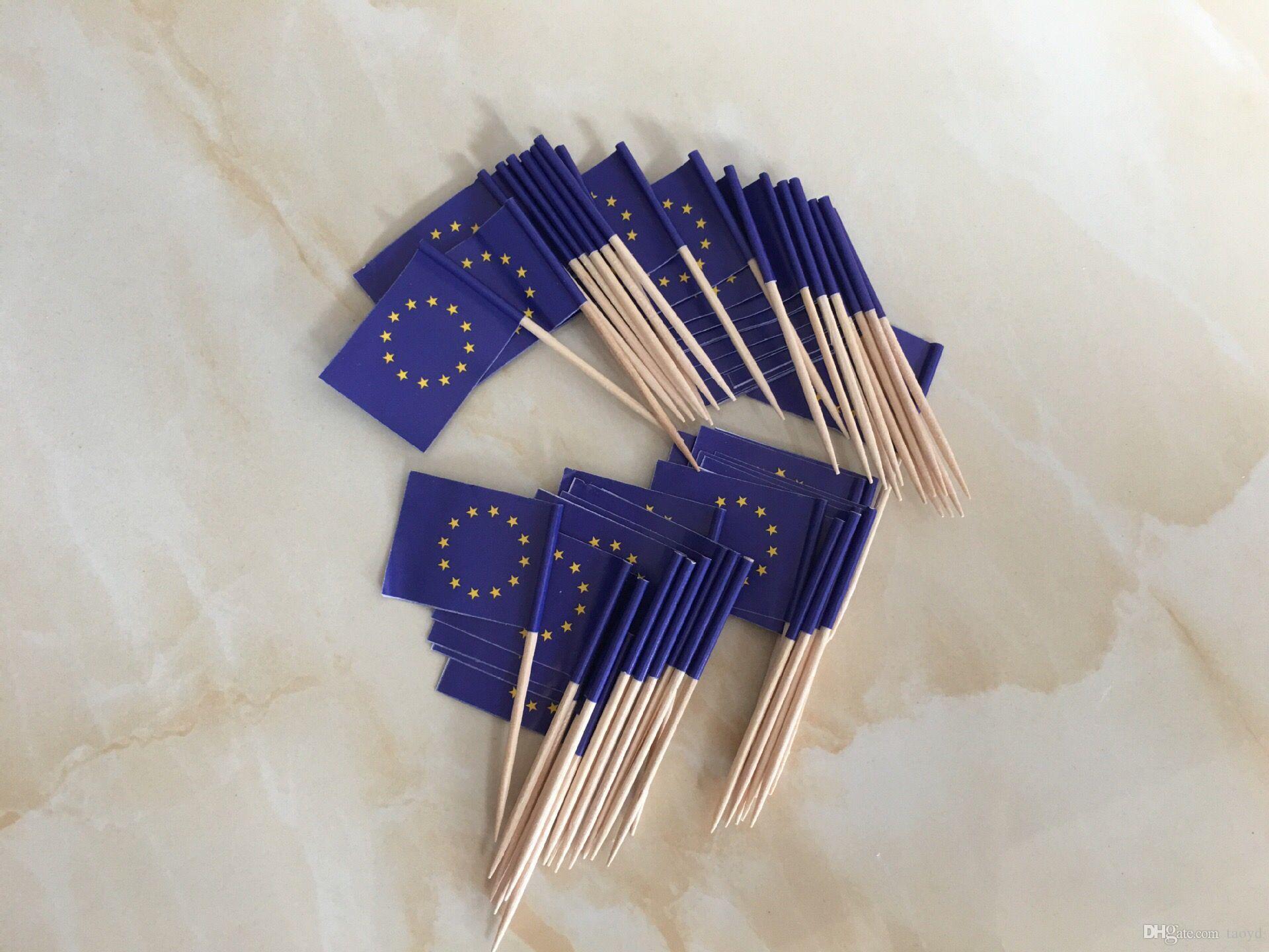 Best Mini European Union Flag Paper Food Picks Dinner Cake ...