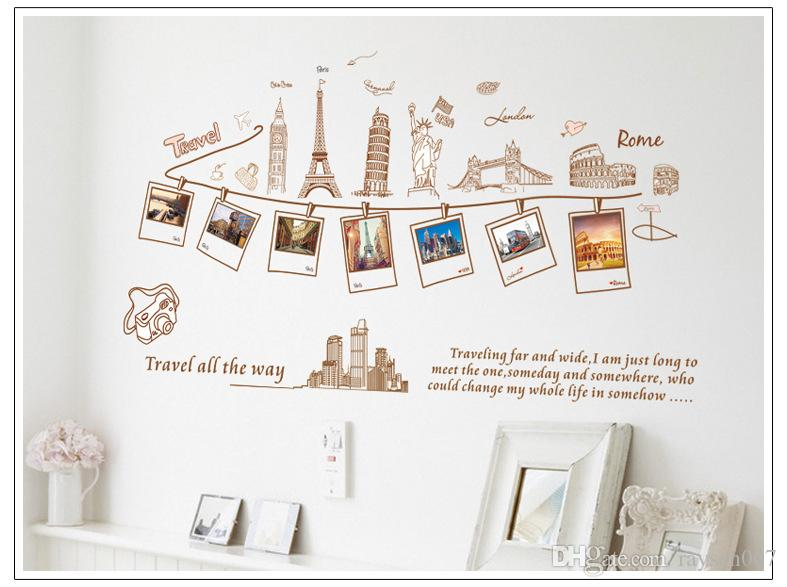 Removable global travel wall art decal stickers photo for Stickers pared baratos