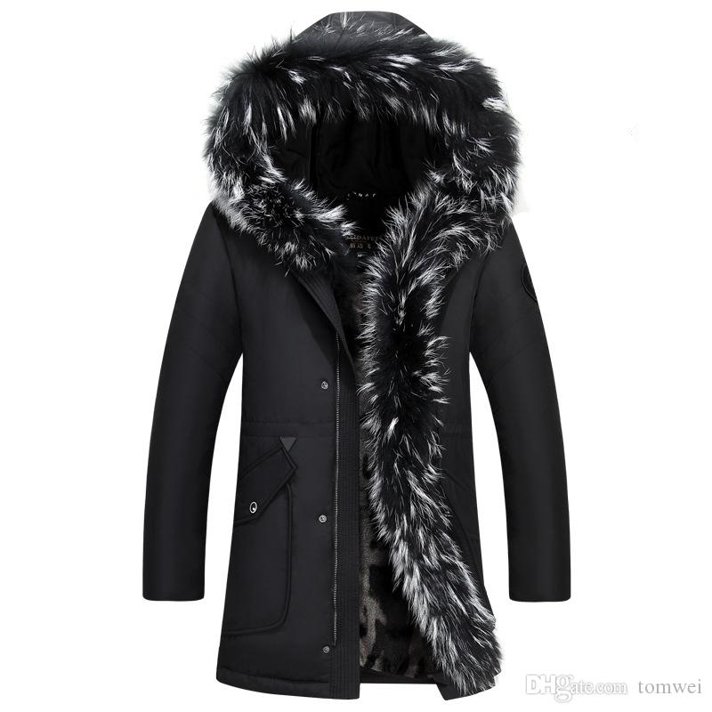 Men Down Jacket Winter Long Coat Duck Down Parkas Real Raccoon Fur ...