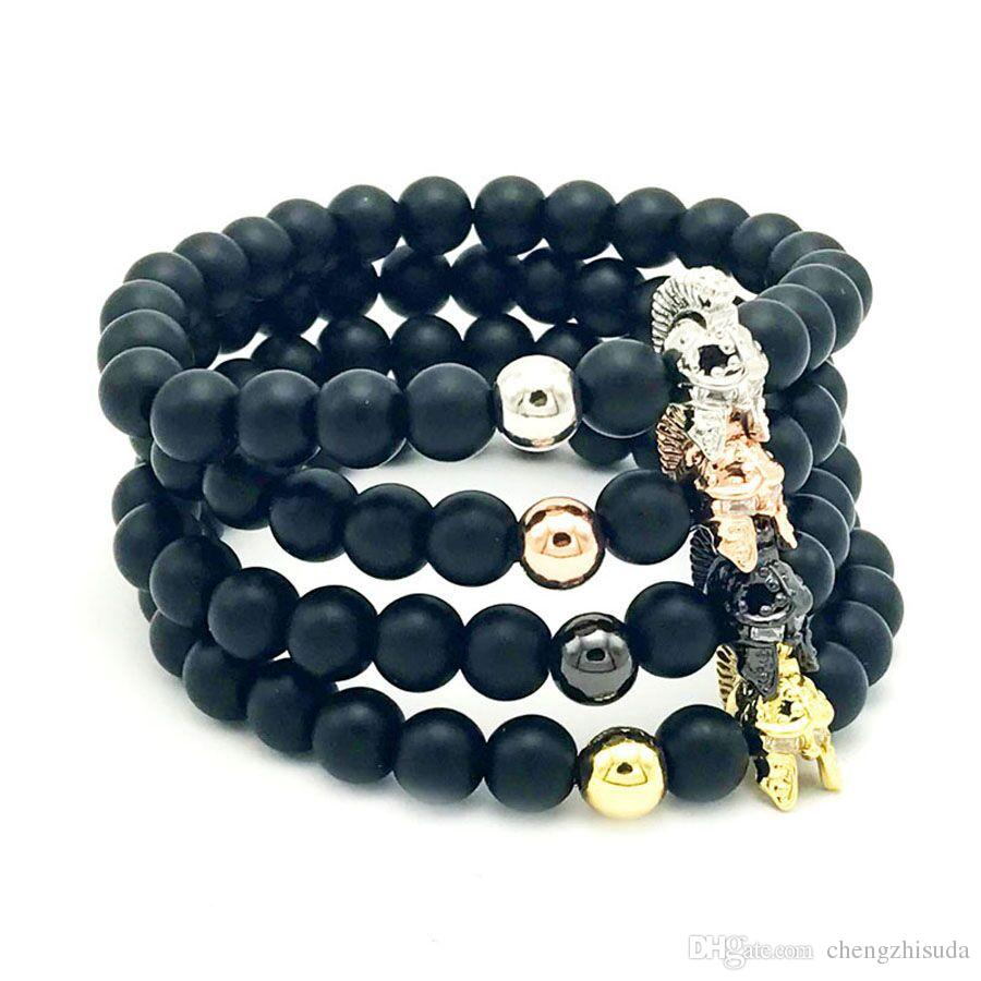 2017 Black Matte Beaded Bracelet For Women Men Bangle Male Stone Jewelry  Pulseras Mujer Helm Of Old Sparta Bracelets From Chengzhisuda, $593   Dhgate