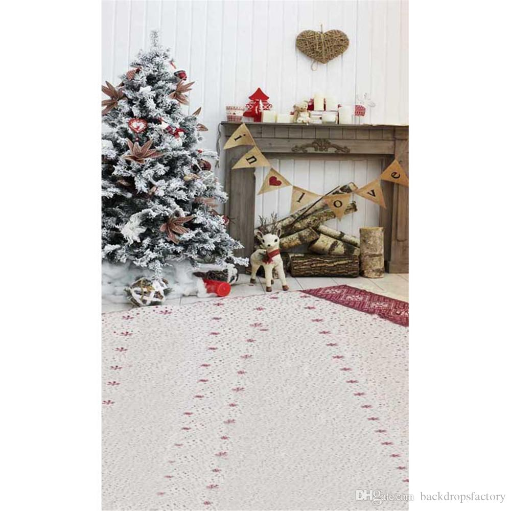 indoor house christmas fireplace backdrop white wall decorated