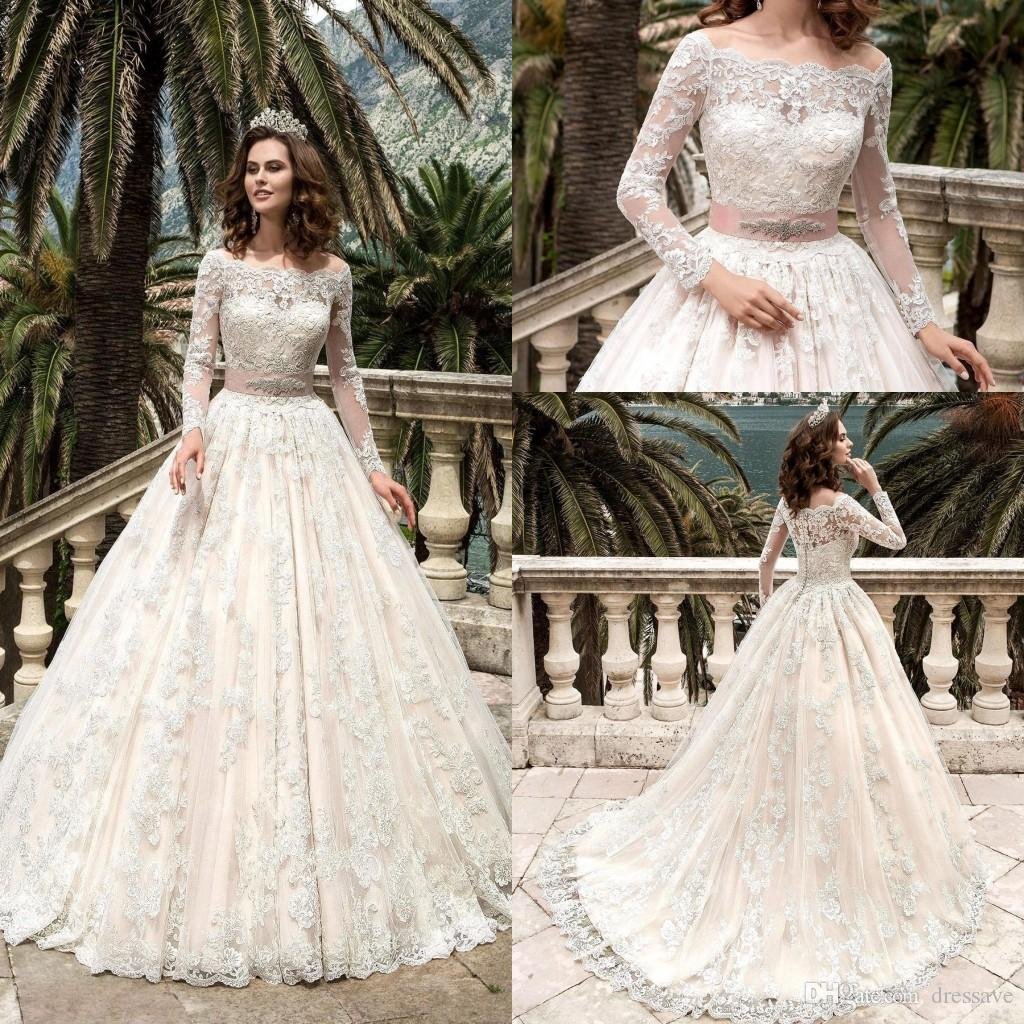 Discount 2017 Modest Long Sleeve Lace Wedding Dresses