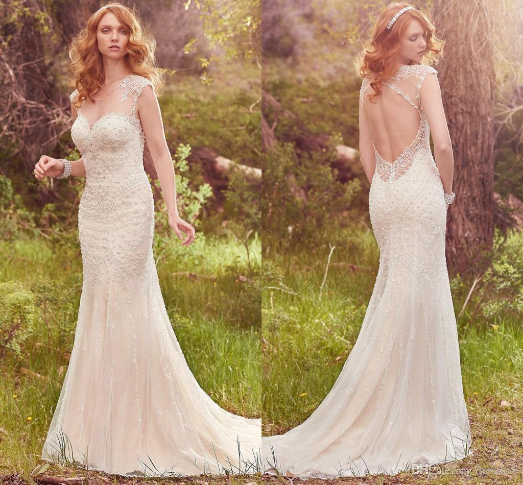 2017 Boho Beaded Backless Mermaid Wedding Dresses Elegant