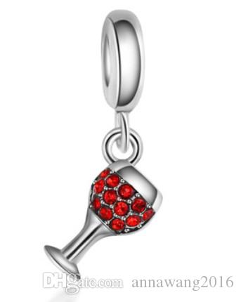 Fins Sterling Silver Bracelet Verre à vin rouge Dangle Beads Charms pour Diy sty