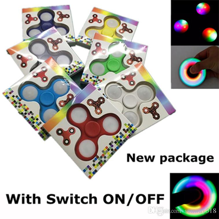 EDC Rainbow Fidget Spinner LED Fidget Tri Spinners Jouets 3 modes Luminous Light