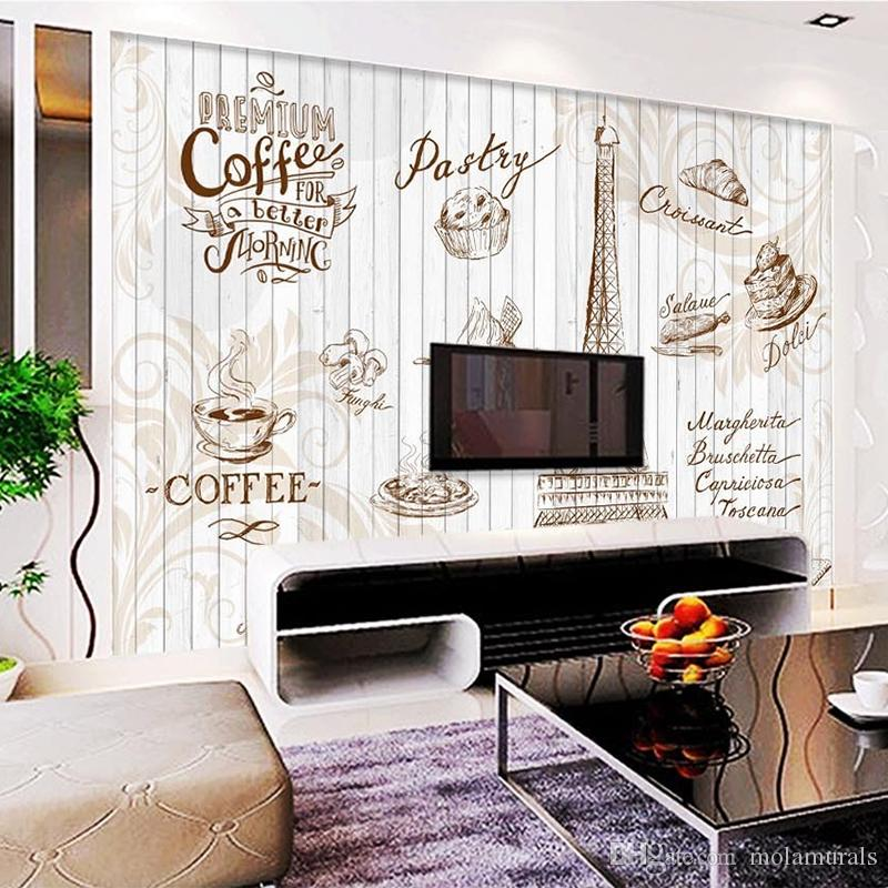 Custom wall mural 3d retro letters wallpaper coffee cafe for Cafe mural wallpaper