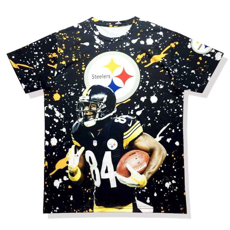 T-shirt Homme # 84 Antonio Brown Jerseys 3 D Stereo design impression col rond t