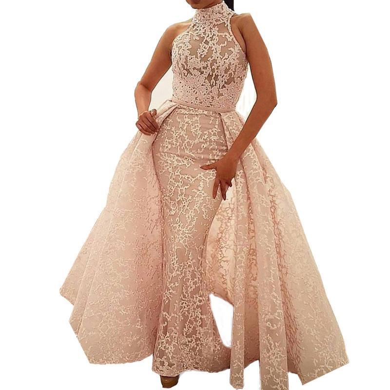 robe de soiree ball gown high neck court train detachable. Black Bedroom Furniture Sets. Home Design Ideas