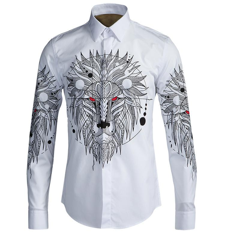 2017 mens casual shirts cotton animal printing solid high