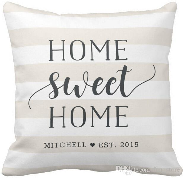 Home sweet home personalized striped throw pillow case for Home sweet home sofa