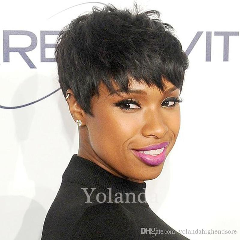 2017 New Black Color Layered Lambskin Short Pixie Cut Wigs