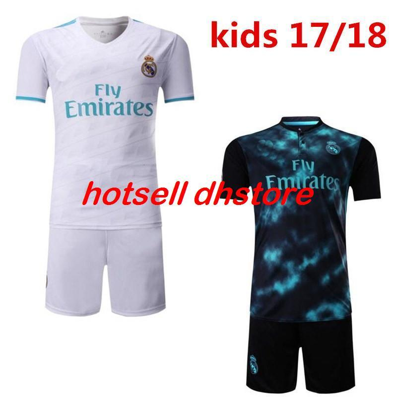 2017/2018 enfants Real MD Soccer Jerseys New Font RONALDO blanc Noir JAMES BALE