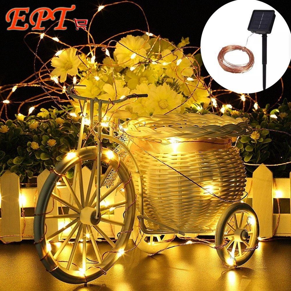 Wholesale- LED Christmas Lights Solar 10M 100 LED Copper Wire ...