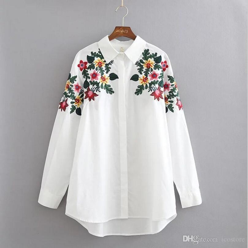 2017 New Fashion Design Floral Embroidery Turn-down Collar Shirt ...