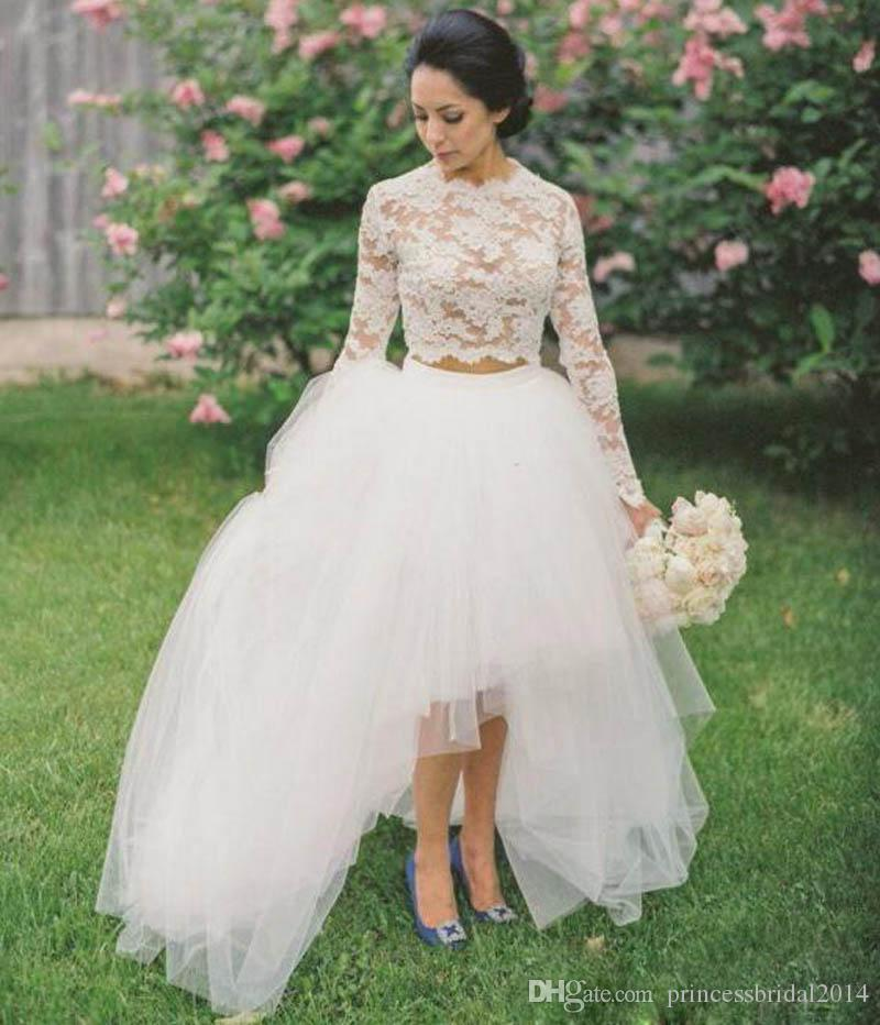 Discount two pieces wedding dresses 2016 o neck long for Wedding dress rental hawaii