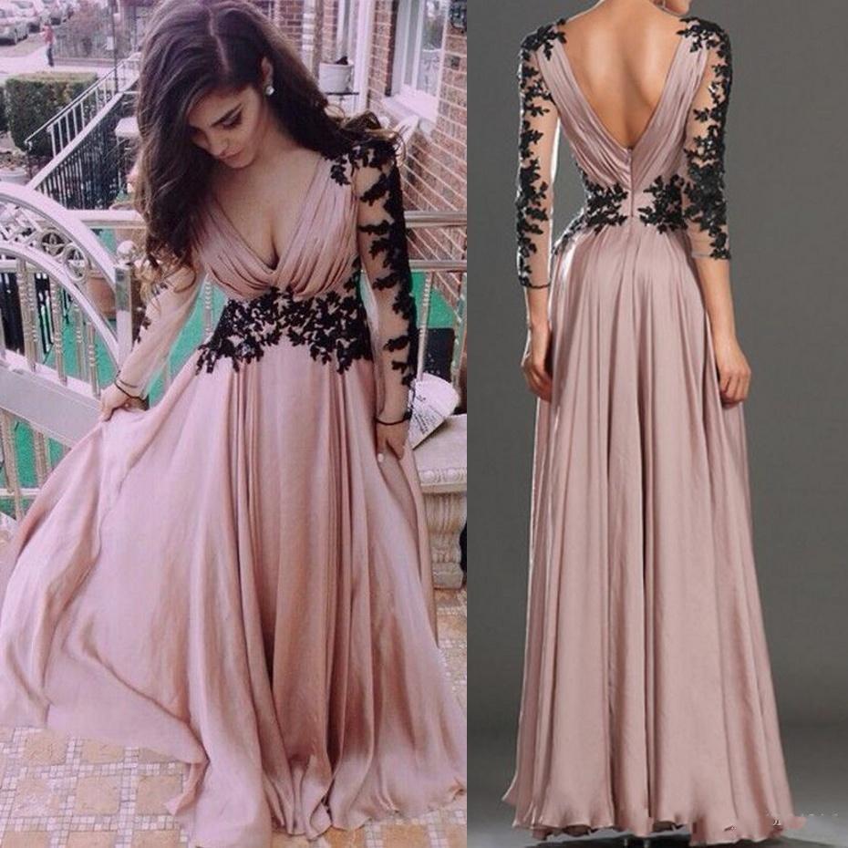 Dusty Pink A Line Chiffon Prom Dresses 2017 Sexy Deep V