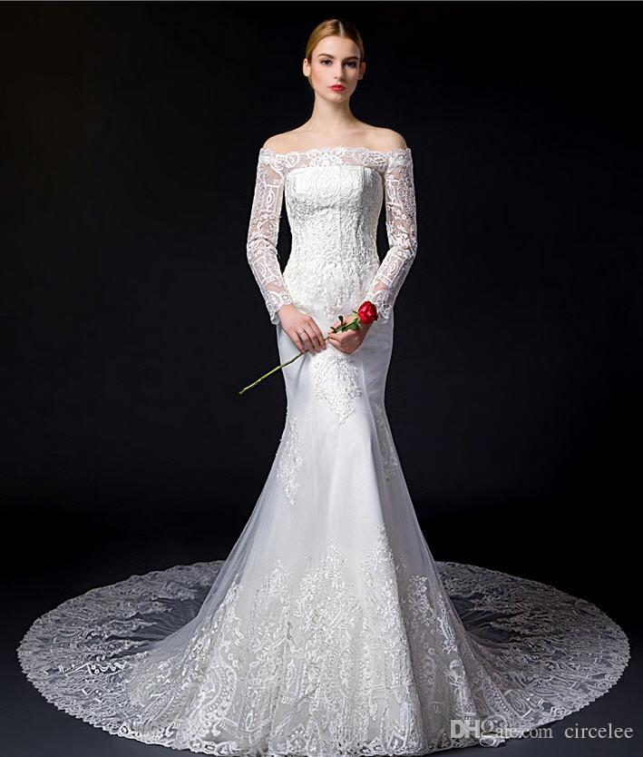 Mermaid lace wedding dresses long sleeve bateau sweetheart for Cheap wedding dresses made in china
