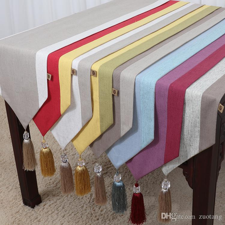 Latest Plain Color Patchwork Table Runner Cotton Linen Modern Tassel Coffee  Table Cloth Rectangle Dining Table Protective Pads 200x33 Cm High Quality  Table ...