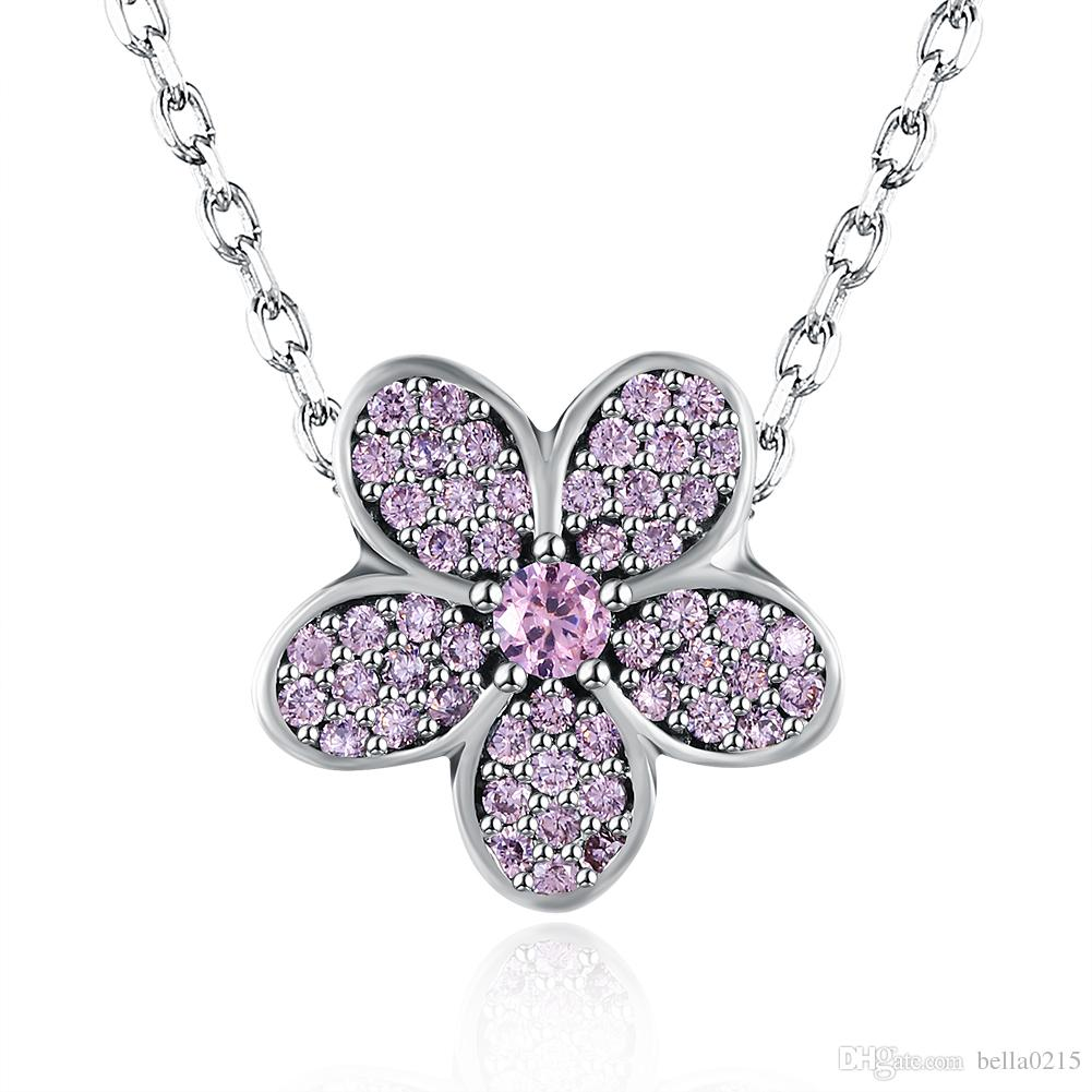 Handmade beaded pendant necklaces 925 sterling silver zircon handmade beaded pendant necklaces 925 sterling silver zircon flower heart shaped necklaces for women christmas valentines day gift necklace christmas gift mozeypictures Gallery