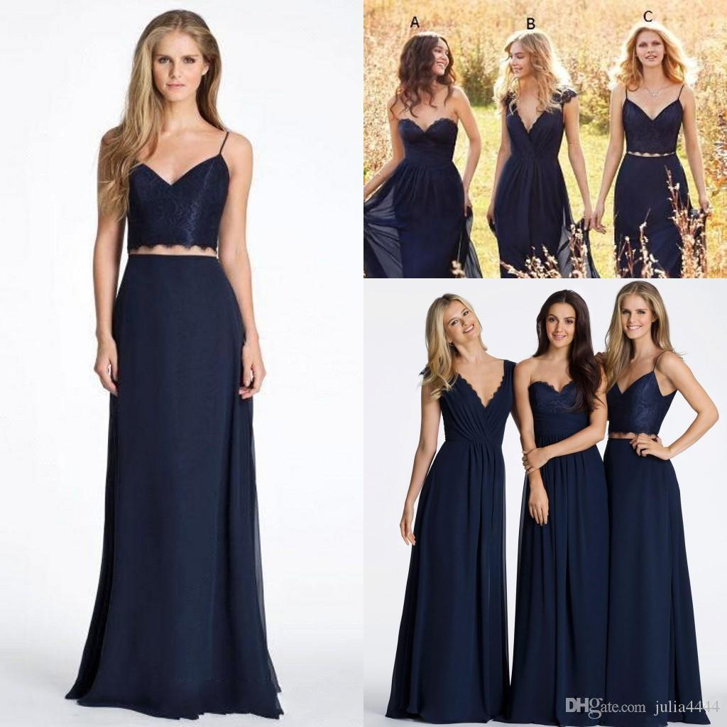 New Cheap Bridesmaid Dresses 2017 Bohemian For Weddings Navy Blue Chiffon Lace Two Pieces Long