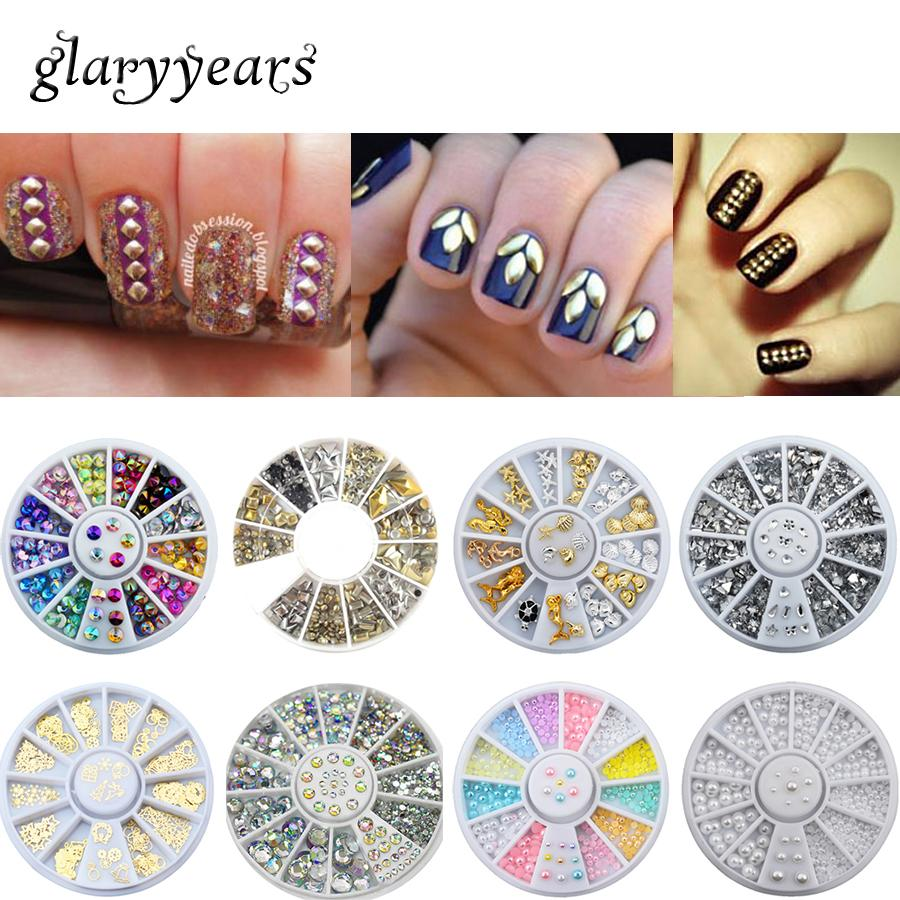 Wholesale 13 Designs 3d Nail Art Accessories Metal Crystal
