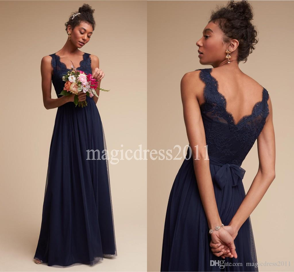 2016 modest navy blue lace bridesmaid dresses floor length a line 2016 modest navy blue lace bridesmaid dresses floor length a line v neck open back boho country wedding party maid of honor gowns forma cheap chiffon ombrellifo Choice Image