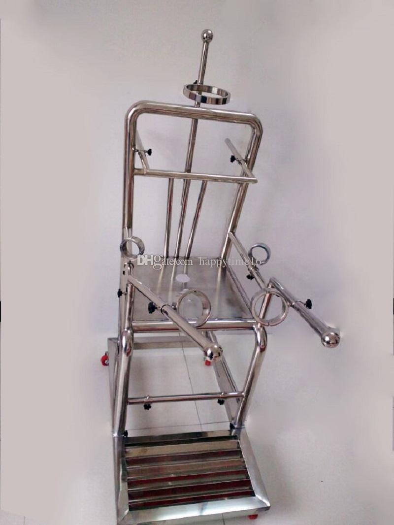 Newest Heavy Duty Stainless Steel Tuning Chair With Open Legs Fixed Hand Cuffs Sex Chair Bdsm