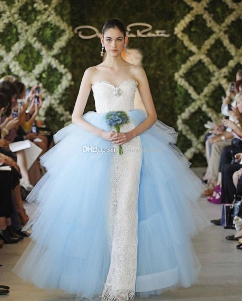 Light Blue Tulle Tiers Overskirt Lace Wedding Dresses 2017