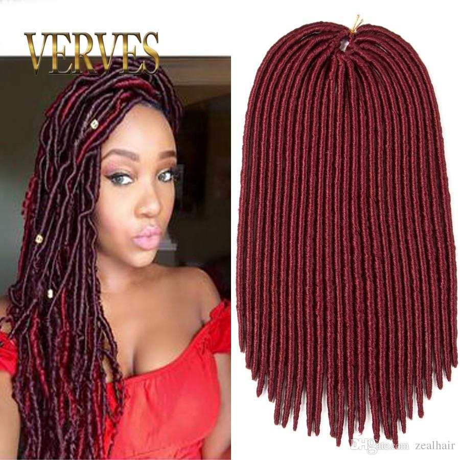 18 Inch Faux Locs Crochet Hair 130g Burgundy Dreadlocks