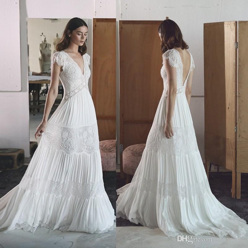 Lihi hod 2017 country backless wedding dresses v neck for Lihi hod wedding dress for sale