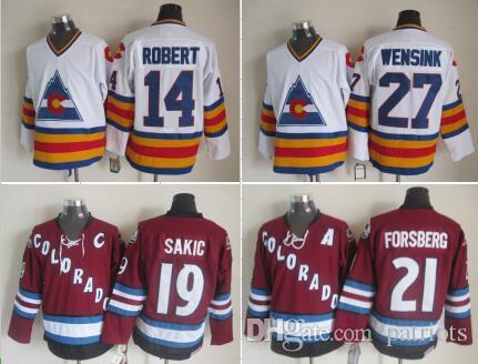 nhl ice hockey throwback jerseys colorado avalanche 19 joe sakic 14 rene robert 21 peter forsberg