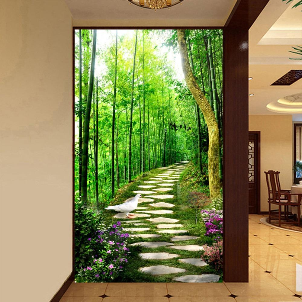 3d road painting online 3d road painting for sale wholesale 3d mural wallpaper custom size bamboo forest small road entrance hallway murales de pared modern home decor painting wallpaper