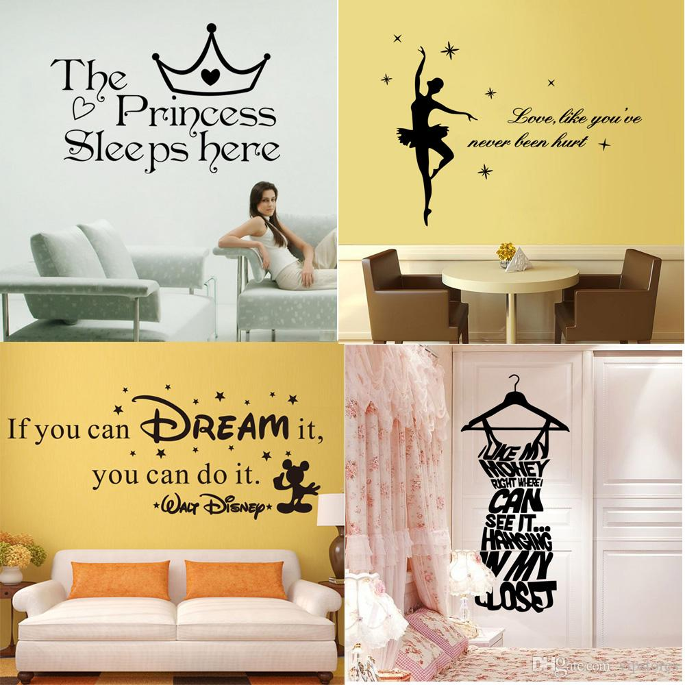 Mixed style wall quote decals stickers home decor vinyl for Living room decor quotes