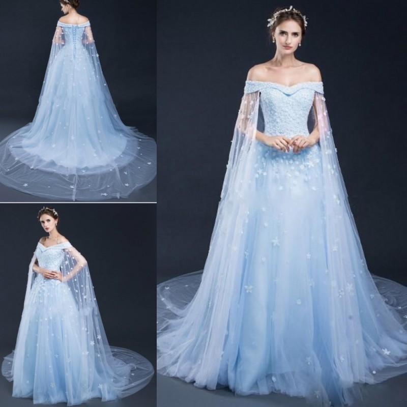 Discount luxury handmade flowers wedding dresses with cape for Wedding dress with cape train