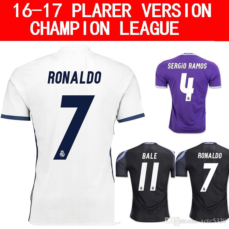 2017 Ligue des Champions Version du Joueur Maillot de Football 2016/17 Real Madr