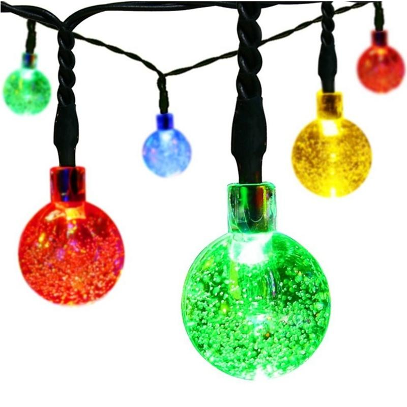 Solar Christmas String Lights,30 Led Ball 21ft White 8mode Waterproof Decorative Globe For ...