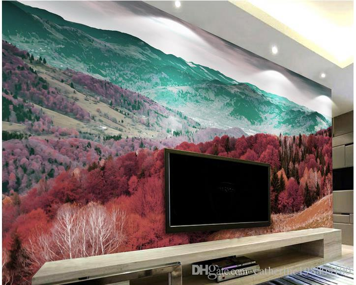 Popular beautiful mountain forest tree landscape mural 3d for Ash wallpaper mural