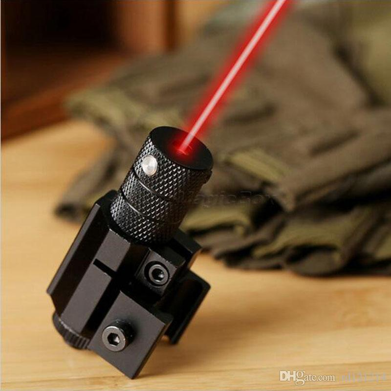 Puissant Tactical Mini Red Dot Laser Sight Scope Weaver Picatinny Mount Set pour