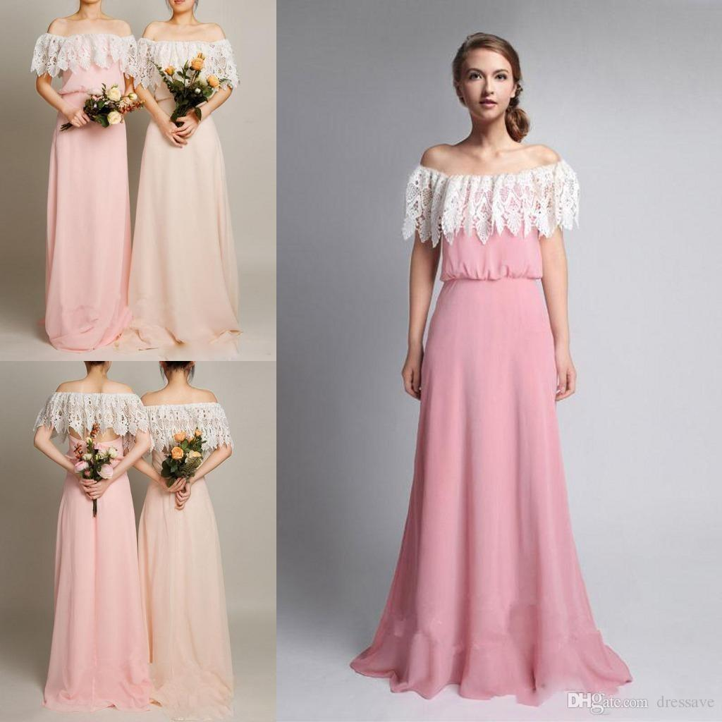 New spring summer long floor length bridesmaid dresses 2017 off new spring summer long floor length bridesmaid dresses 2017 off shoulder pink lace chiffon for wedding party guest bridesmaids dress bridesmaids dresses ombrellifo Image collections