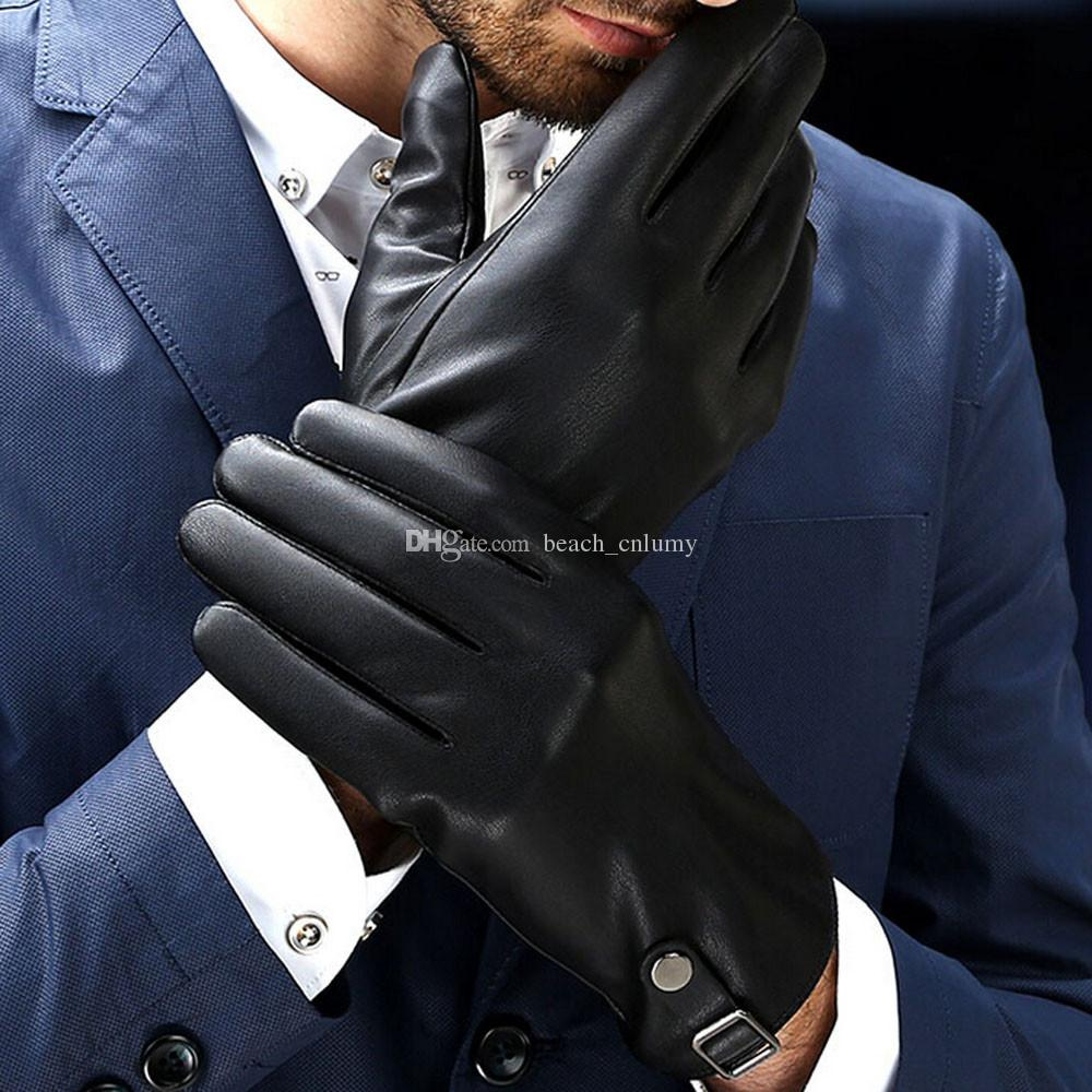 Mens leather touchscreen gloves uk - Men Thermal Touch Screen Gloves Artificial Leather Winter Warm Motorcycle