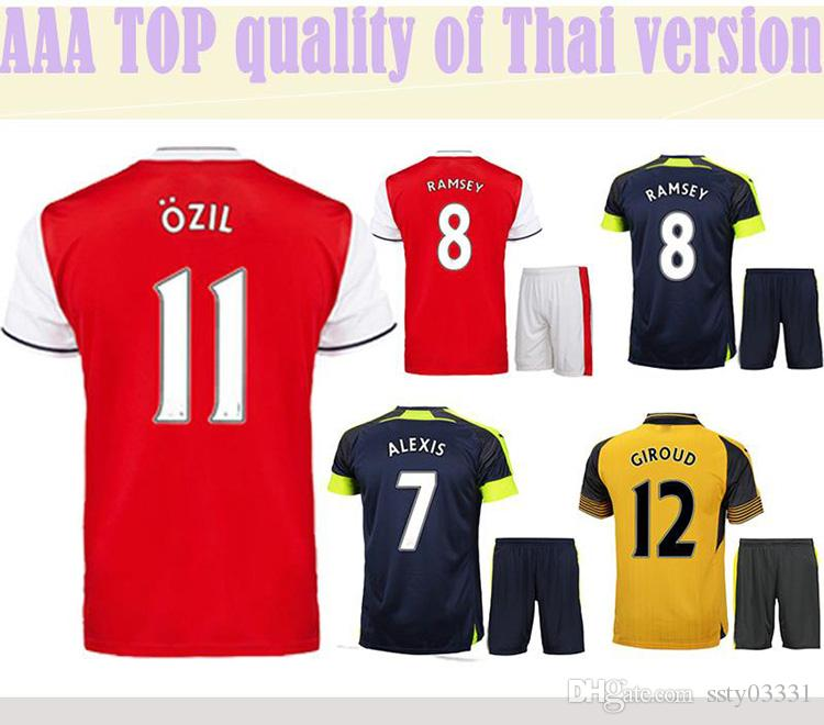 AAA Adult OZIL WILSHERE ALEXIS GIBBS WALCOTT CHAMBERS Top Thaïlande Qualité 16/1