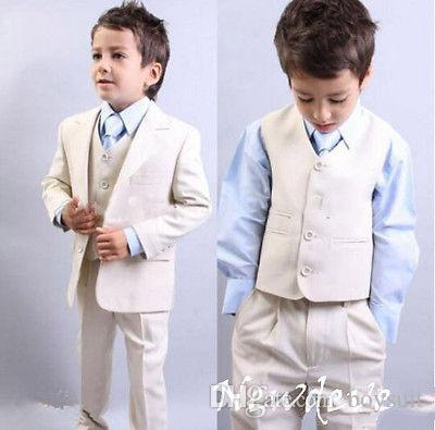 Cream Boys Suit Wedding Suit Prom Baby Formal Party Lapel Tuxedos ...