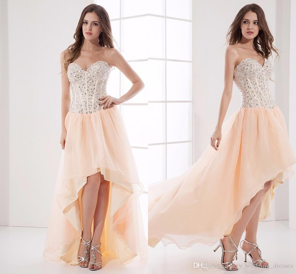 2017 Coral Beaded High Low Homecoming Dresses Short Teens ...