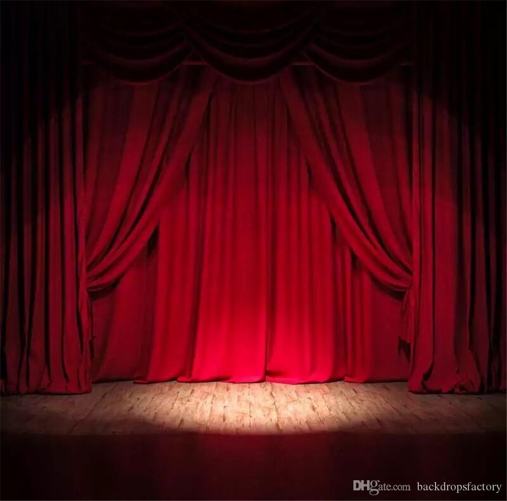 Color booth online - 10x10ft Burgundy Color Curtain Stage Backdrop Design Wooden Floor Studio Photography Backgrounds Wedding Photo Booth Backdrops With Lights Stage Backdrop