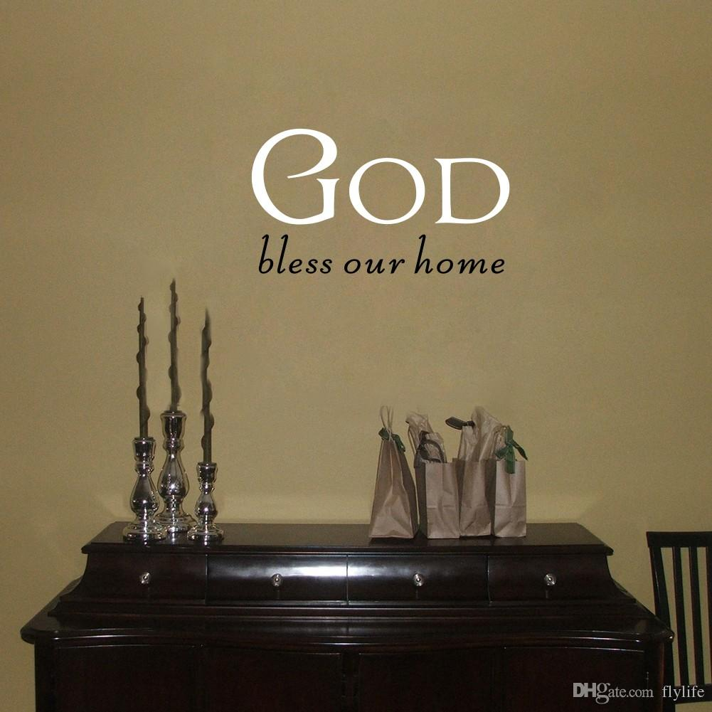 God Bless Our Home Quote Vinyl Wall Sticker DIY Home Decor for