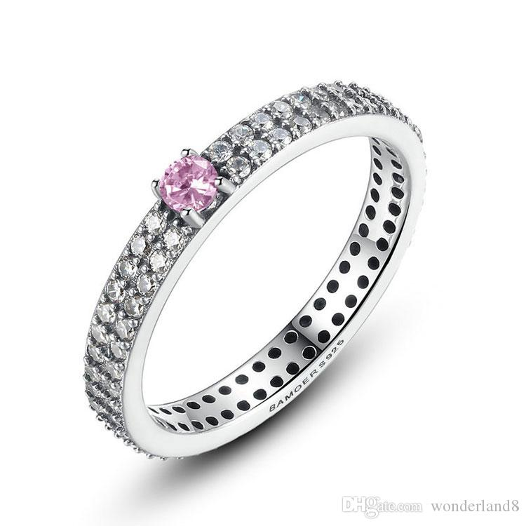 3pcs solid 925 sterling silver rings pink stone ring with small white cz diamond for woman wedding ring simple jewelry r197 - Online Wedding Rings